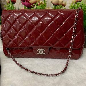 CHANEL SINGLE FLAP PATENT MED SHW VGUC